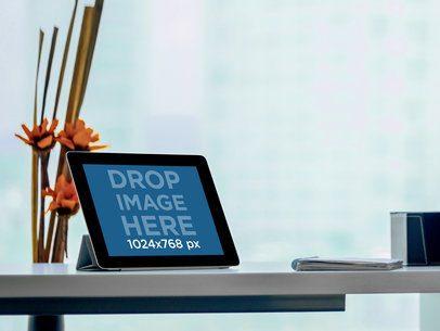 Black Landscape iPad On Business Shelf