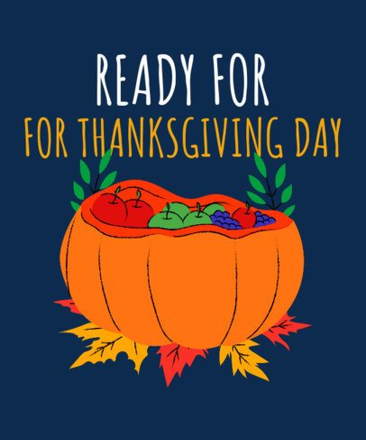 Illustrated T-Shirt Design Creator for Kids Featuring a Thanksgiving Pumpkin 3009f