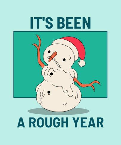 Funny T-Shirt Design Creator Featuring a Snowman Melting 3012e
