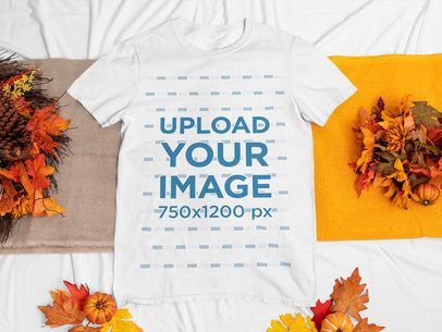 T-Shirt Mockup Featuring Fall Ornaments m67