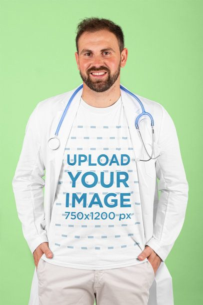 T-Shirt Mockup of a Bearded Doctor Posing at a Studio 215