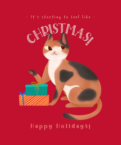 Illustrated T-Shirt Design Generator Featuring a Kitten With Christmas Presents 3010a