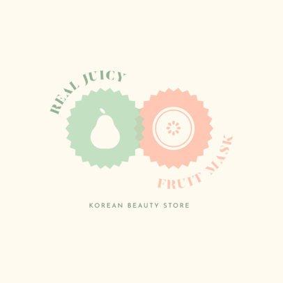 Korean Skincare Brand Logo Maker Featuring Fruit Icons 3726g