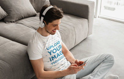 T-Shirt Mockup of a Man Listening to Music and Chilling 40570-r-el2