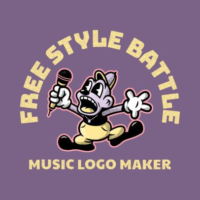 Logo Template with a Cartoonish Style Featuring a Character Freestyle Rapping 3735f