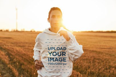 Hoodie Mockup of a Woman Running Outdoors at Sunset 42804-r-el2