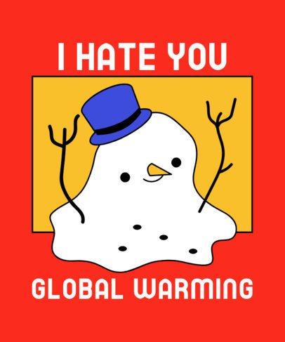 Sarcasm T-Shirt Design Template Featuring a Melting Snowman 3012h
