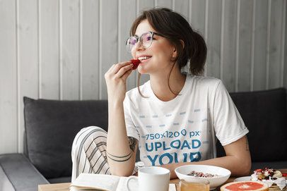 T-Shirt Mockup of a Woman Eating Strawberries for Breakfast 39554-r-el2