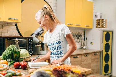 T-Shirt Mockup of a Woman Cooking a Recipe 38309-r-el2