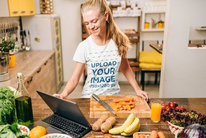 Crew Neck T-Shirt Mockup Featuring a Happy Woman Cooking at Home 38310-r-el2