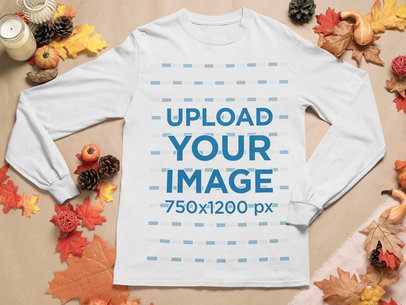 Mockup of a Long Sleeve Tee Surrounded by Fall Decorations 52