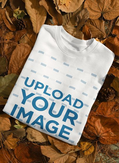 Mockup Featuring a Sweatshirt  Placed on Autumn Leaves 135