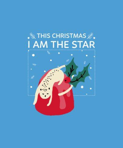 Christmas T-Shirt Design Maker Featuring a Playful Cat 3037a-el1