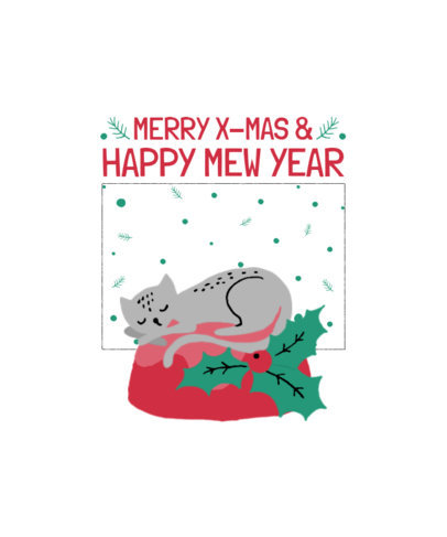 Illustrated T-Shirt Design Creator with a Cat Sleeping on Christmas Ornaments 3037b-el1