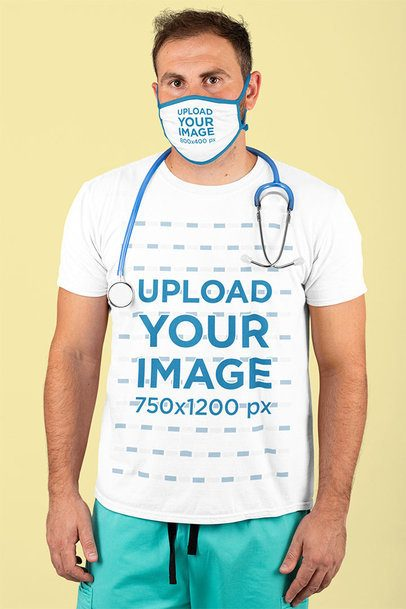 T-Shirt Mockup Featuring a Male Nurse Wearing a Sublimated Face Mask at a Studio 210