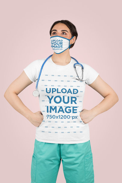 T-Shirt Mockup Featuring a Nurse With a Face Mask Posing With Her Hands on Her Hips 204