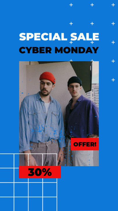 Instagram Story Template for a Clothing Store's Cyber Monday Special Sale 3027a-el1