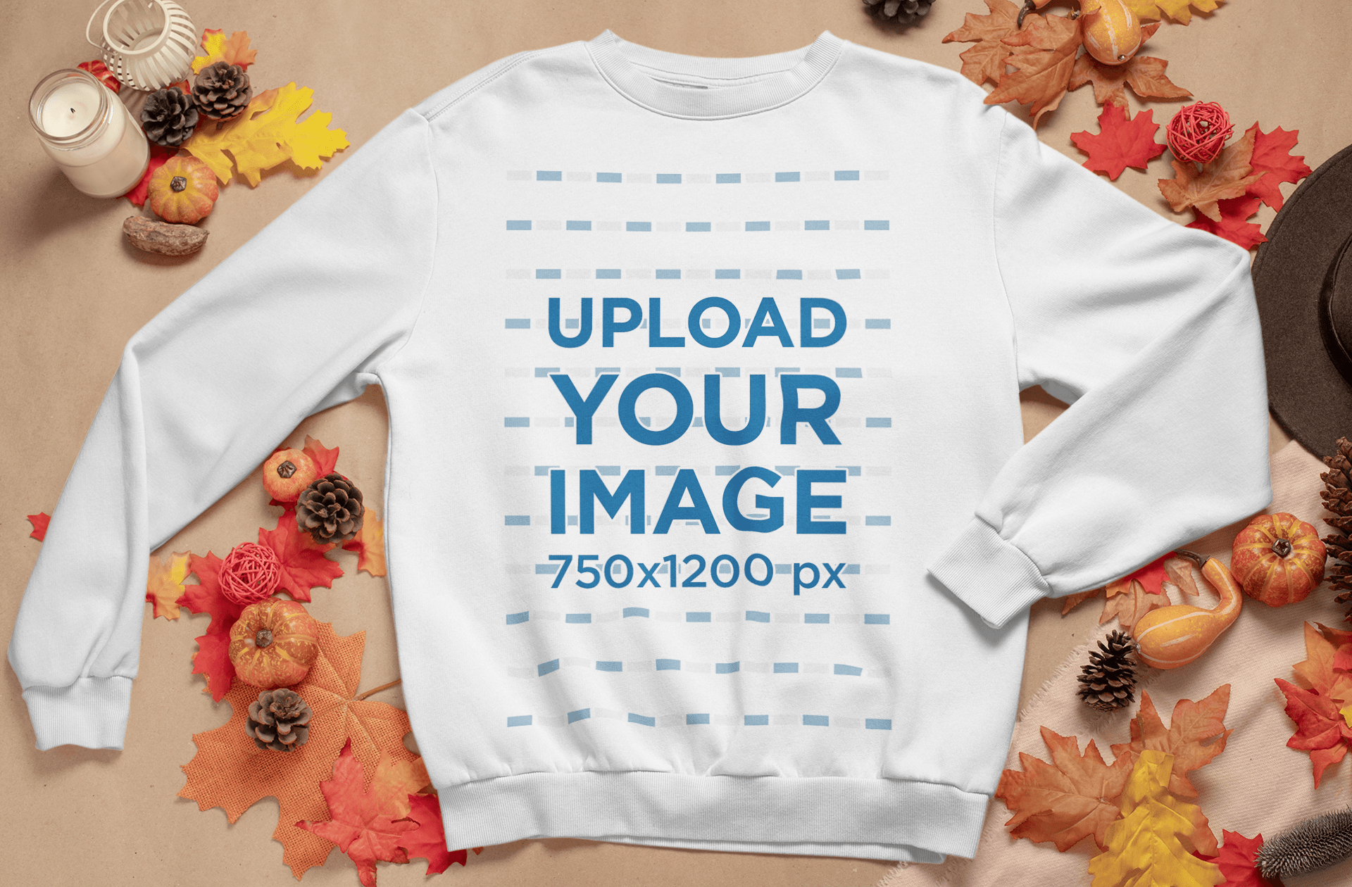 Crewneck Sweatshirt Mockup Featuring Fall Decorations 54