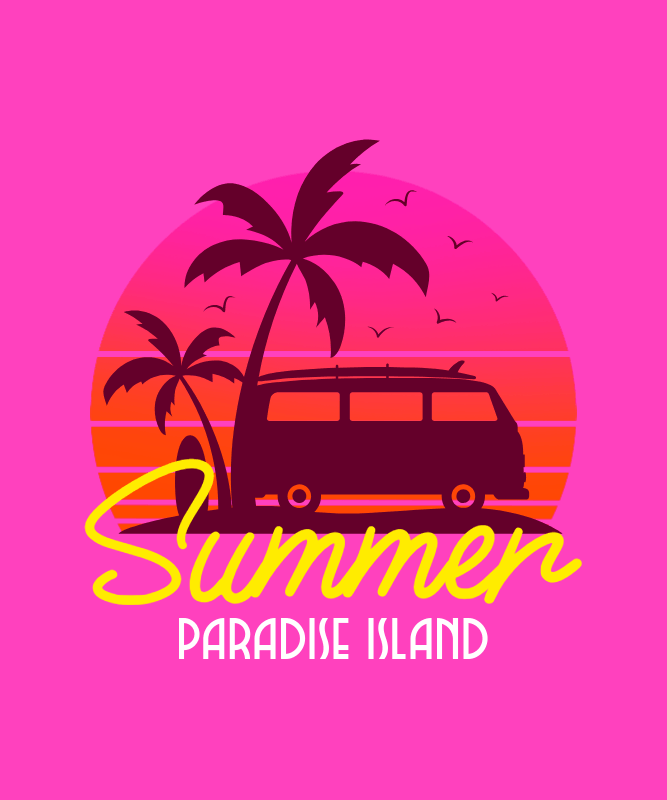 Retro T-Shirt Design Maker Featuring a Summer Theme 3042c