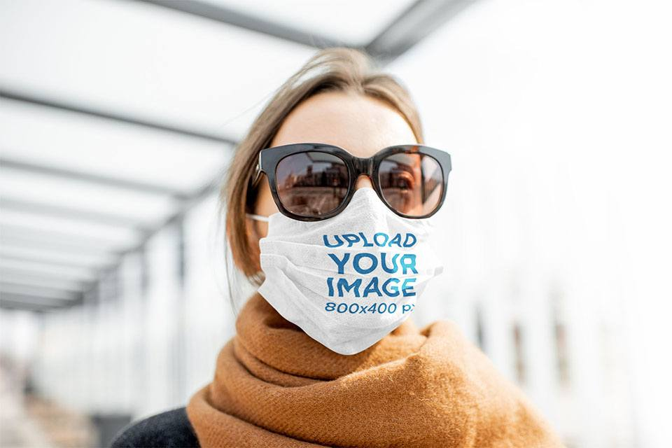 Face Mask Mockup of a Woman Wearing Sunglasses 43781-r-el2