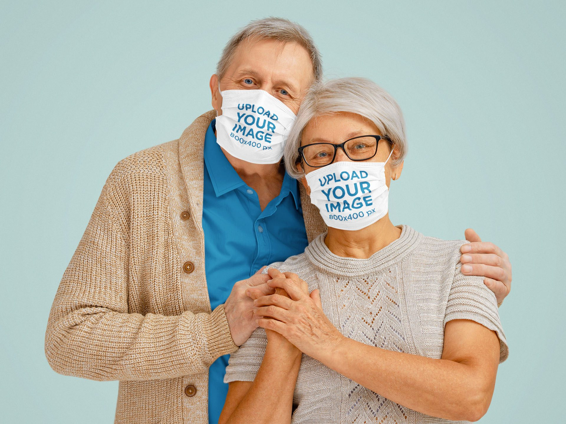 Mockup of a Senior Couple Wearing Face Masks in a Studio 43786-r-el2