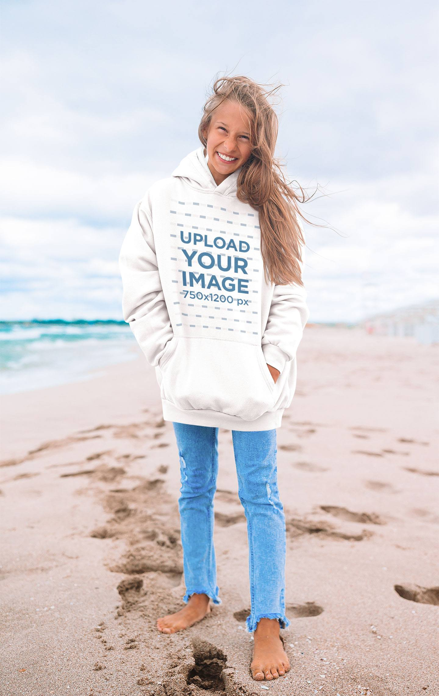 Mockup of a Woman Wearing an Oversize Hoodie at the Beach 43837-r-el2