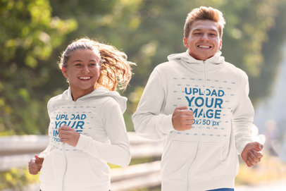 Full-Zip Hoodie Mockup of a Man and a Woman Happily Running 41202-r-el2