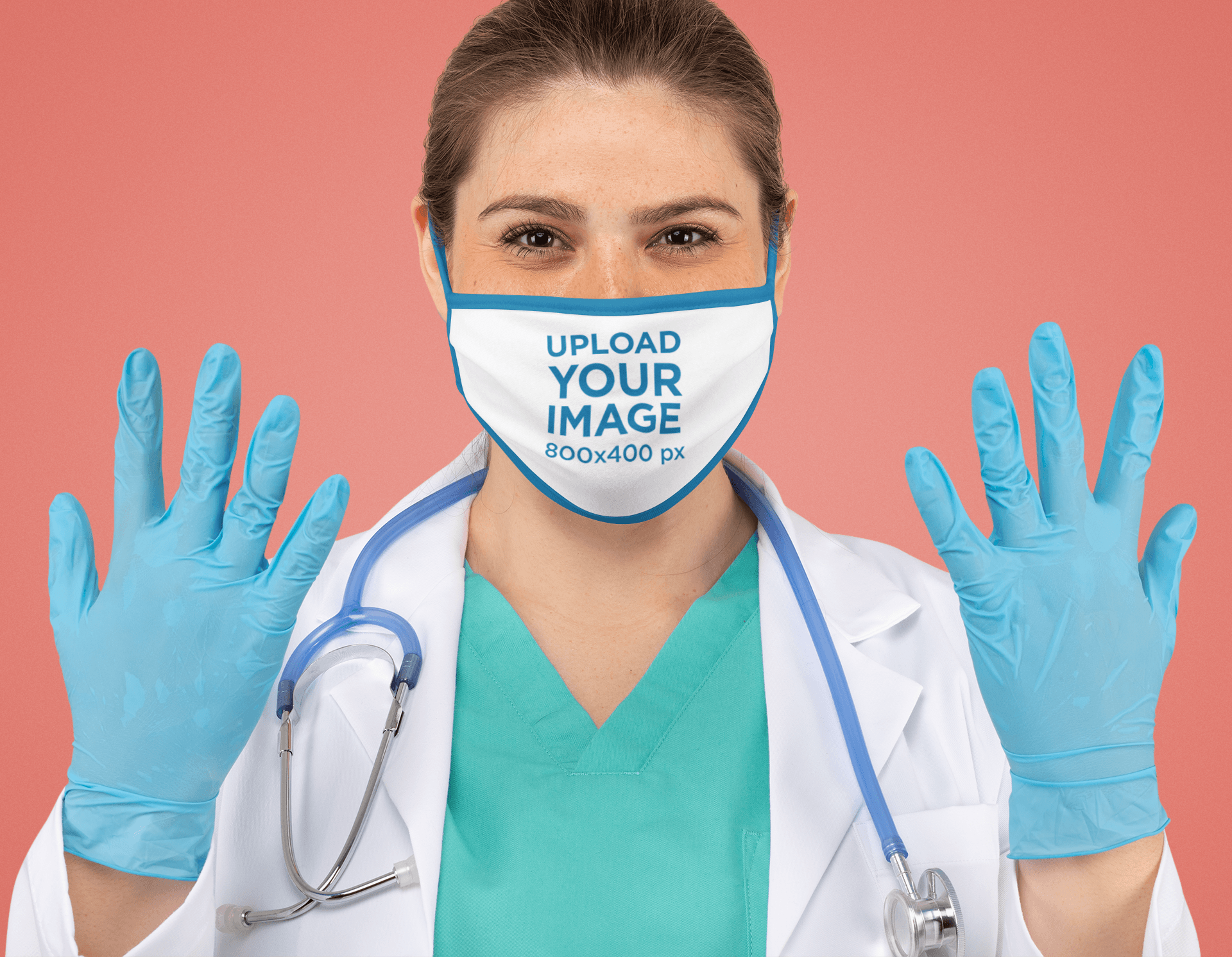 Face Mask Mockup Featuring a Doctor Ready for a Procedure 178