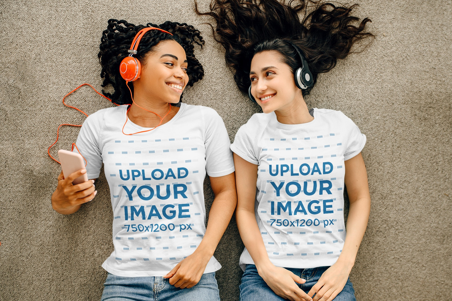 T-Shirt Mockup Featuring Two Women Listening to Music While Lying on the Floor 39258-r-el2