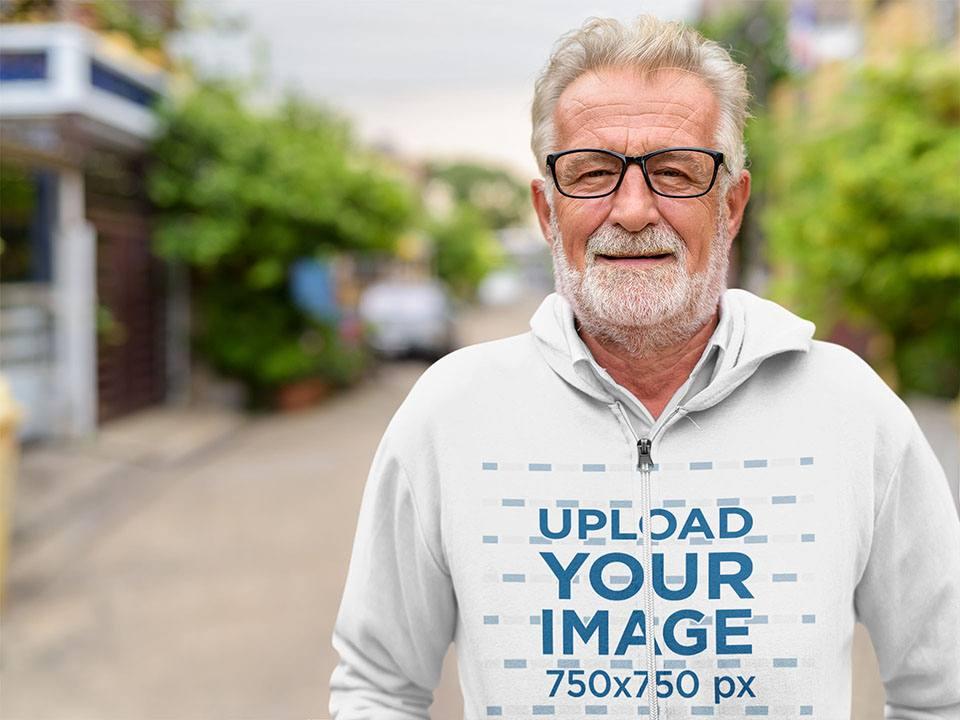 Mockup of a Senior Man Wearing a Full-Zip Hoodie on the Street 40038-r-el2
