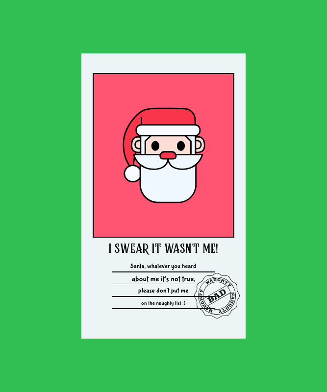 T-Shirt Design Template with a Santa's Christmas Letter 3039a-el1