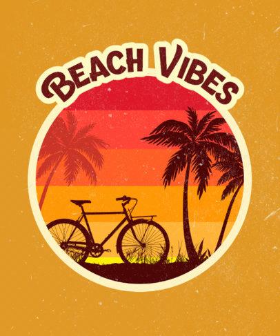 Retro T-Shirt Design Template for Beach Fanatics 3044a