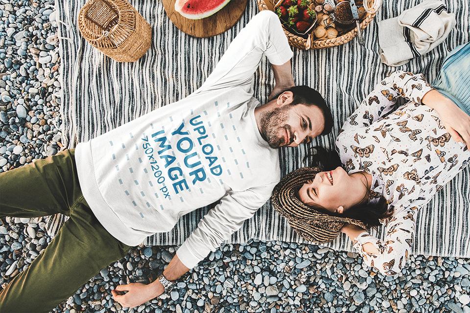 Sweatshirt Mockup of a Man Having a Picnic with His Girlfriend 41833-r-el2