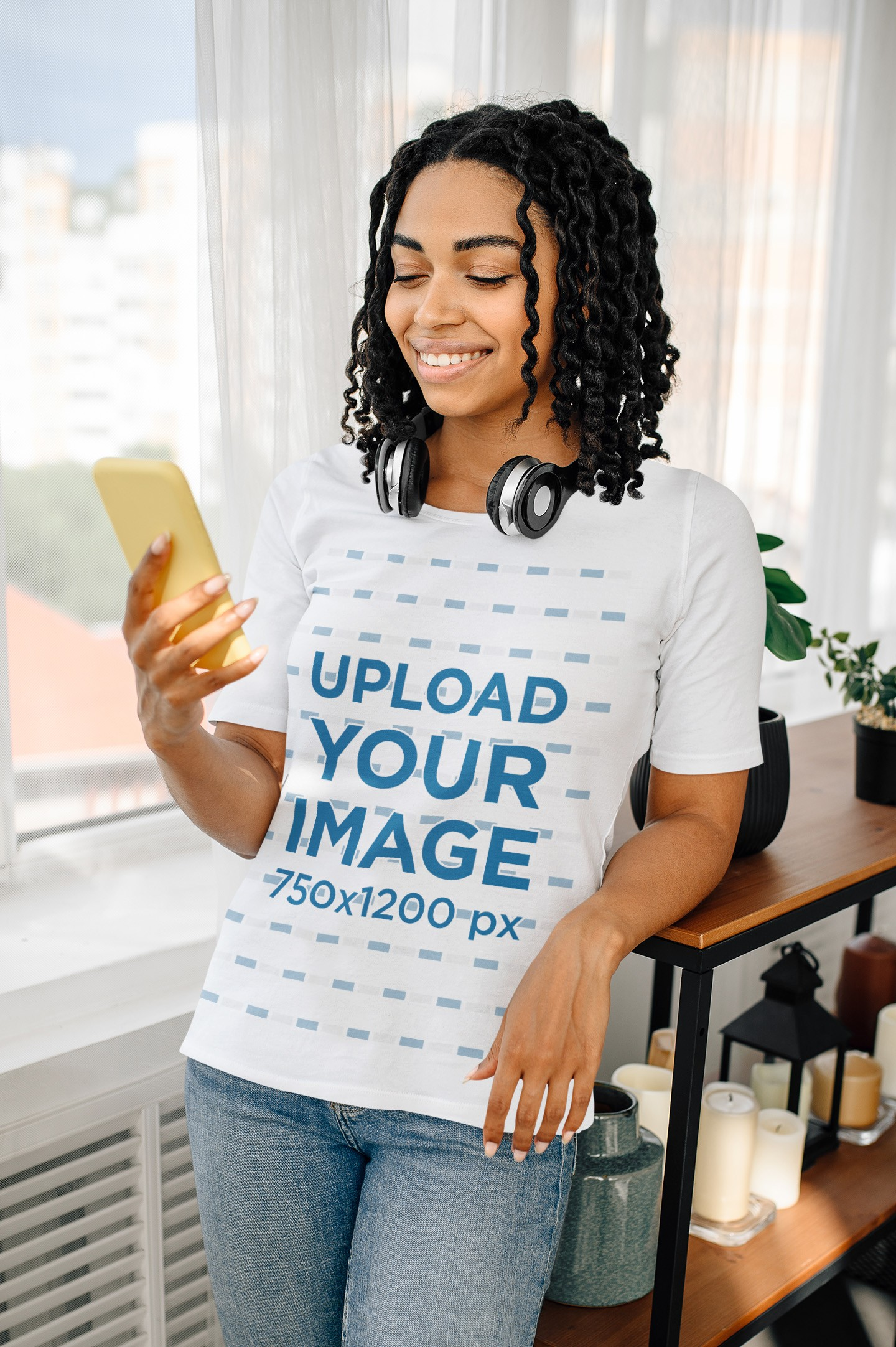 Basic T-Shirt Mockup of a Young Woman Listening to Music at Home 39368-r-el2