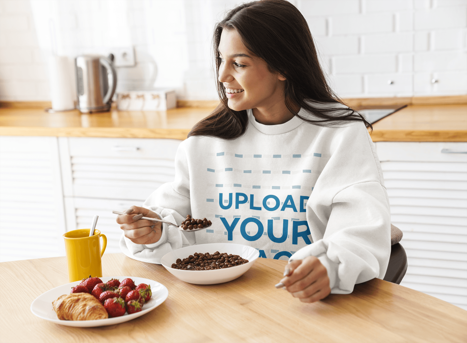 Crewneck Sweatshirt Mockup of a Long-Haired Woman Having Breakfast at Home 41300-r-el2