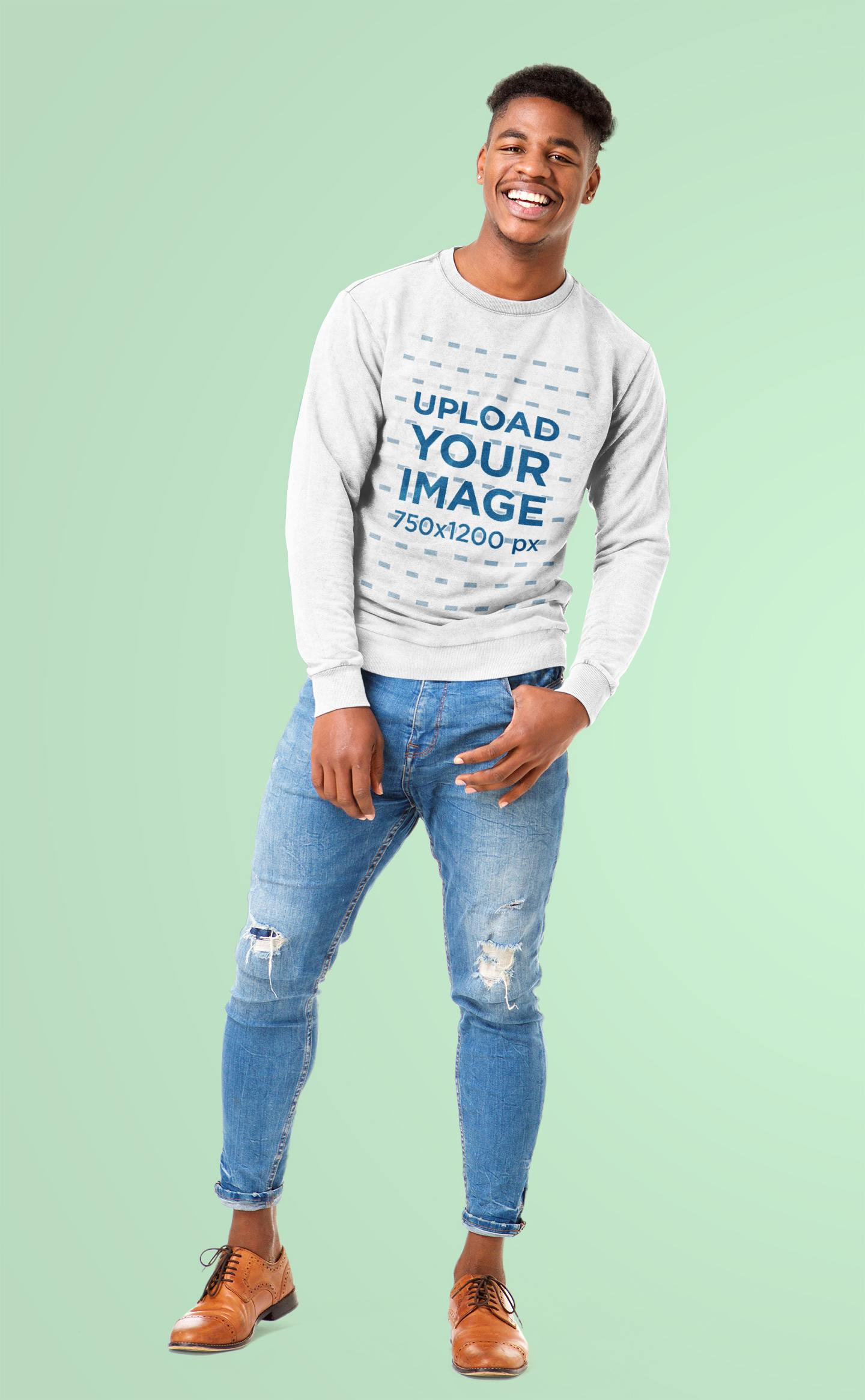 Mockup of a Man with a Hipster Look Wearing a Heathered Sweatshirt at a Studio 43850-r-el2