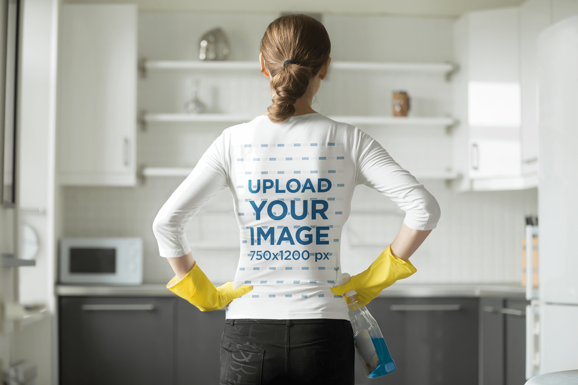 Back-View Long Sleeve Tee Mockup of a Woman Cleaning 38283-r-el2