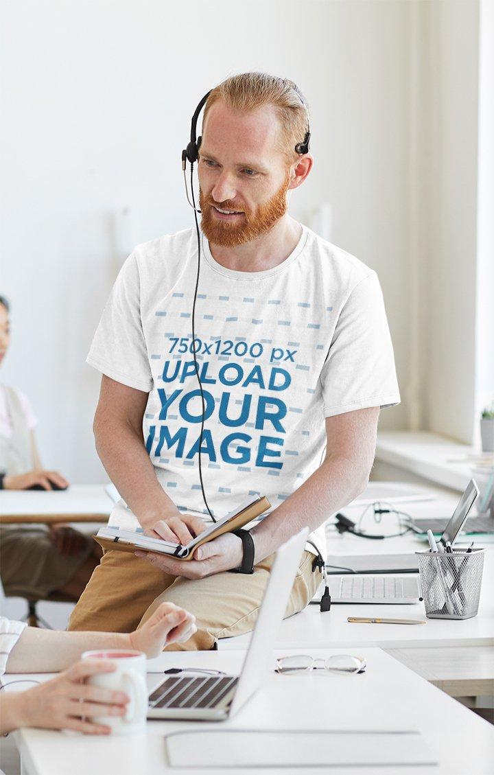 T-Shirt Mockup of a Bearded Man Working in an Office 43008-r-el2
