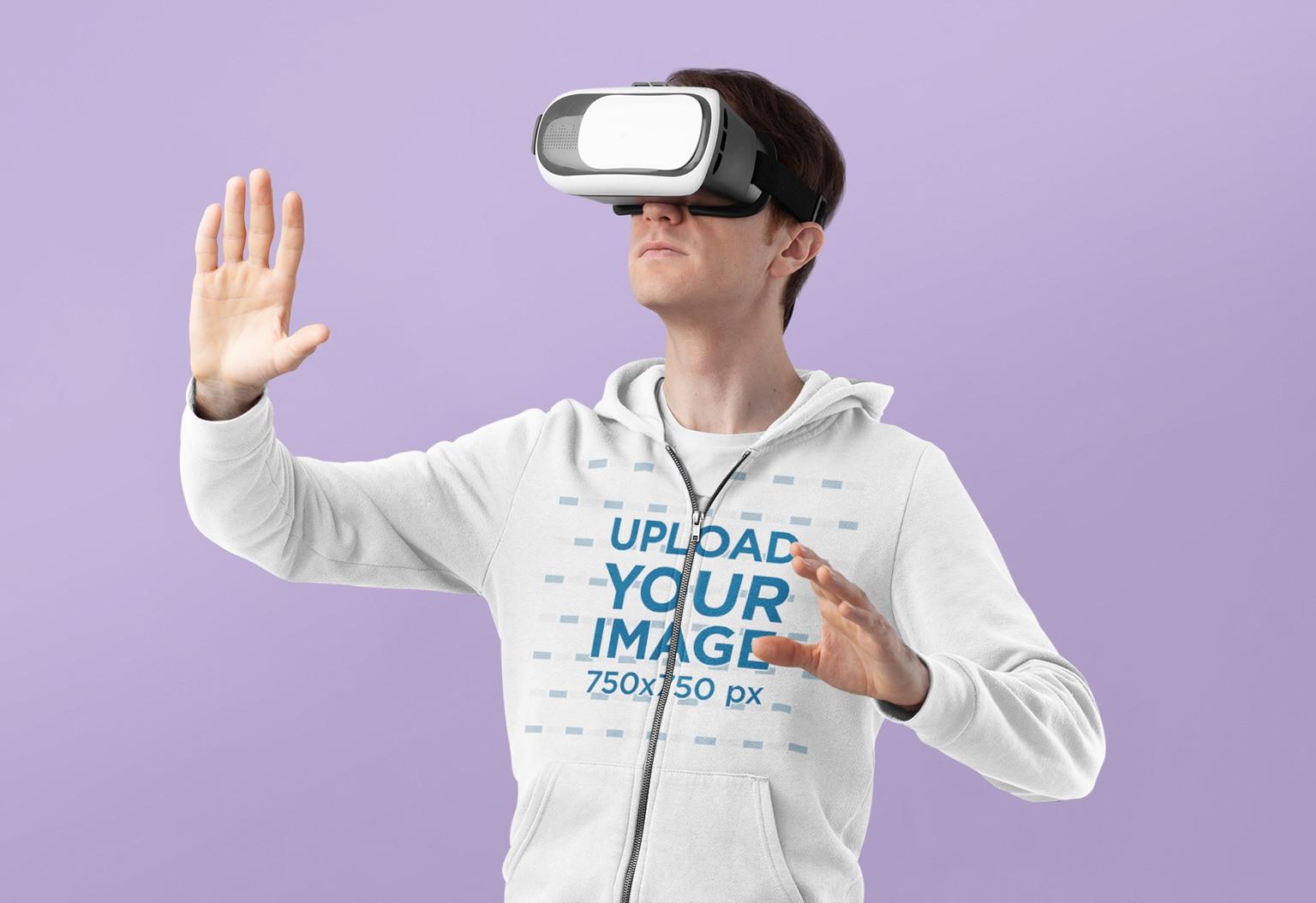 Full-Zip Hoodie Mockup Featuring a Man Wearing a VR Device 37795-r-el2