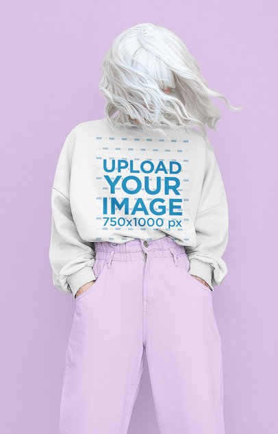 Sweatshirt Mockup of a Woman With a Silver Wig Covering Her Face 43675-r-el2