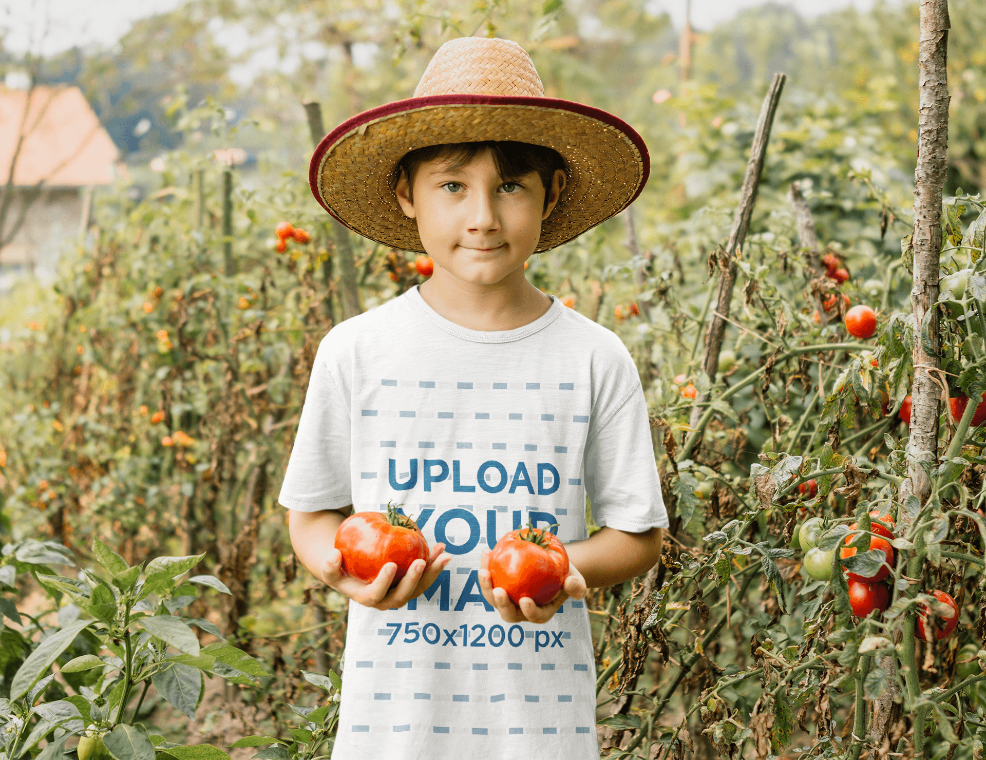 T-Shirt Mockup Featuring a Boy Picking Tomatoes 35394-r-el2