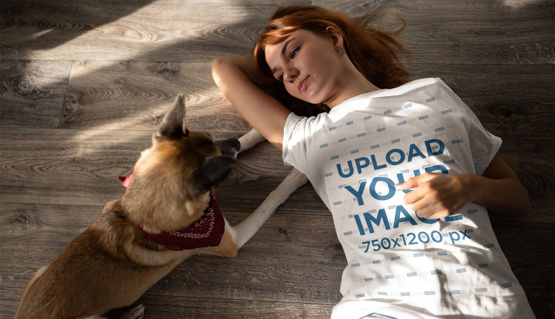 T-Shirt Mockup of a Woman Chilling with Her Dog 35191-rel2