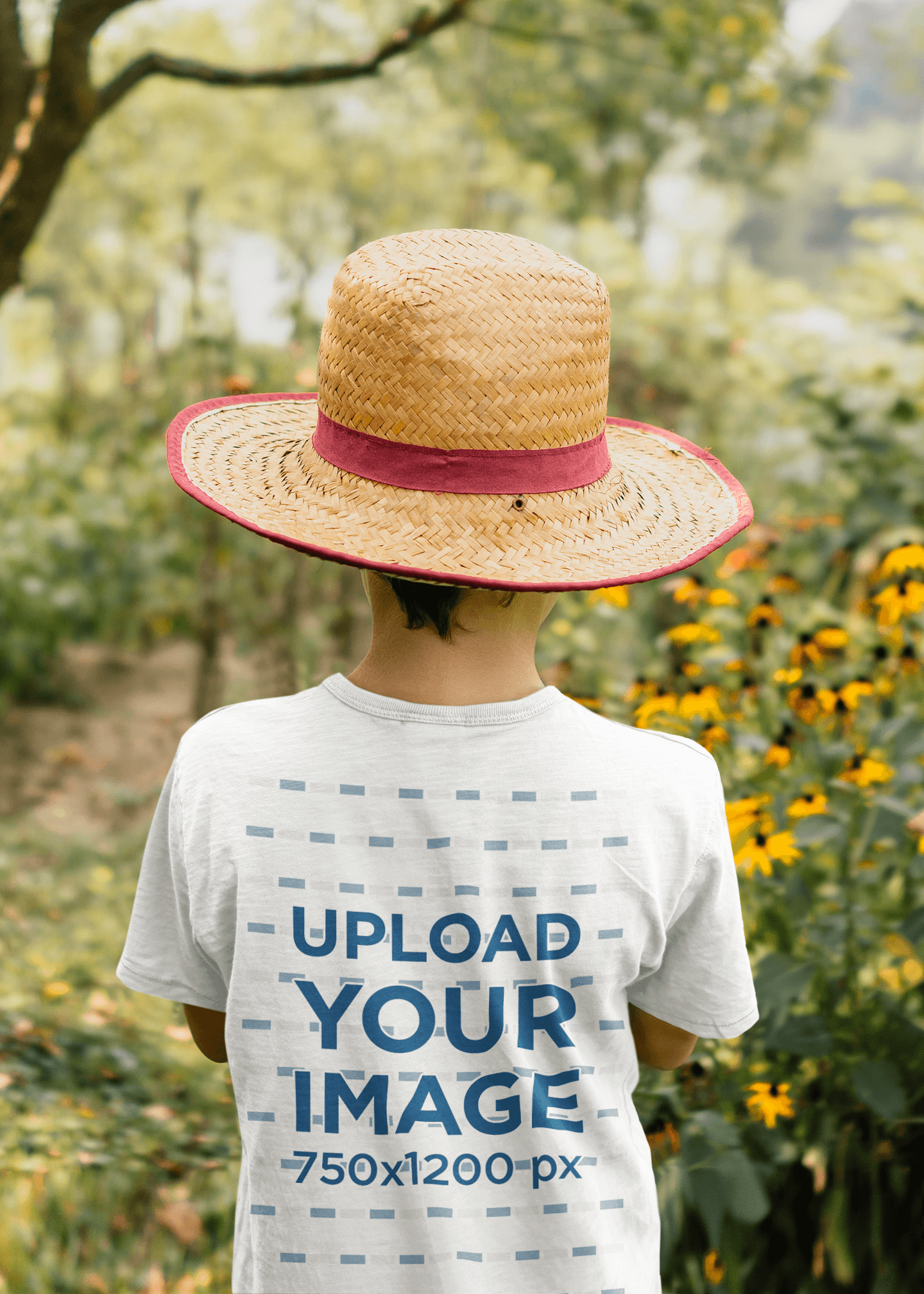 Back View Mockup of a Boy Standing at a Tomato Field 35513-r-el2