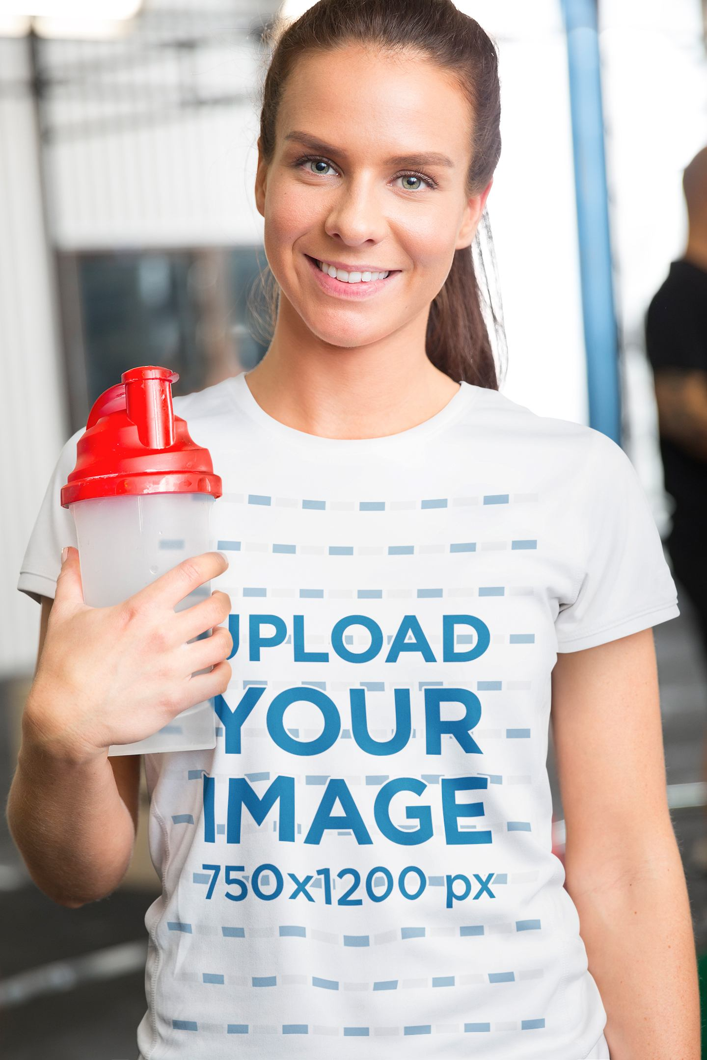 T-Shirt Mockup Featuring a Smiling Woman at the Gym 35544-r-el2