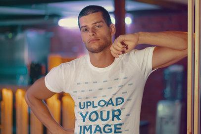T-Shirt Mockup of a Cool Man with a Buzzcut 39319-r-el2