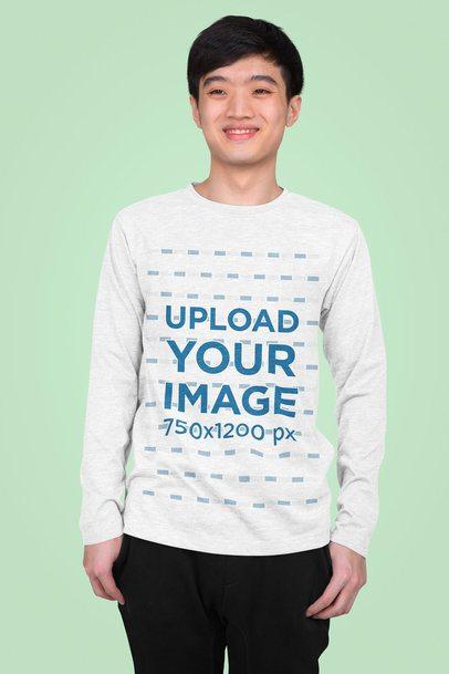 Long Sleeve Tee Mockup Featuring a Teenager in a Studio 43257-r-el2