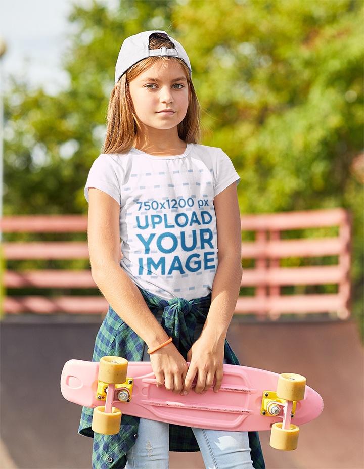 T-Shirt Mockup Featuring a Serious Girl at a Skatepark 37888-r-el2