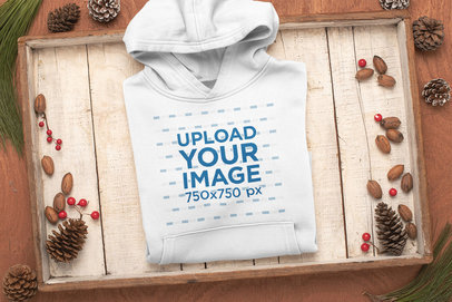 Christmas Mockup of a Folded Pullover Hoodie m162