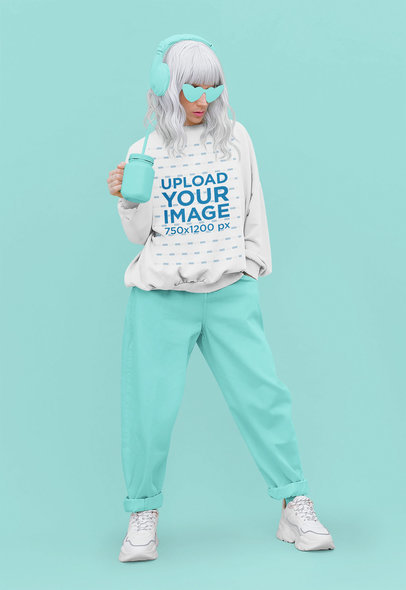 Monochromatic Mockup of a Woman Wearing a Sweatshirt and a Silver Wig 43691-r-el2