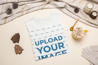 Mockup of a Folded T-Shirt Featuring a Hot Cocoa with Marshmallows 143